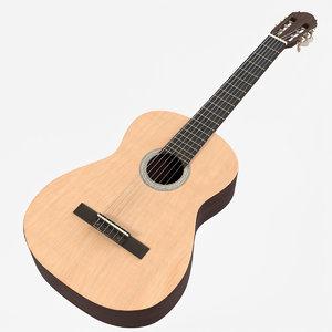 3D wooden classical guitar model