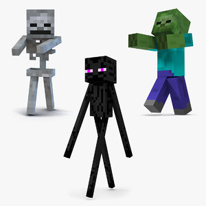 3D minecraft characters rigged model