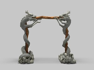 3D chinese dragon pillar model