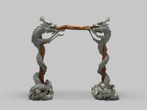 3D chinese dragon pillar model