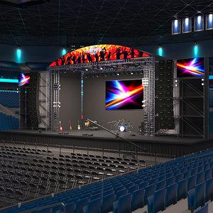 3D stage scene model