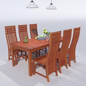 dining set table 3D model