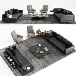 3D model poliform mondrian sofa armchair