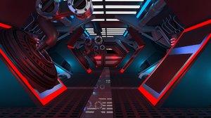 3D sci-fi corridor model