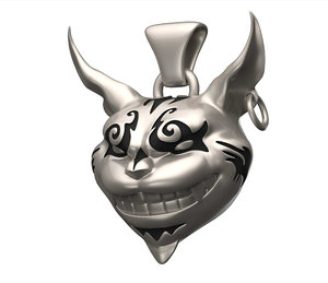 3D model cheshire cat pendant