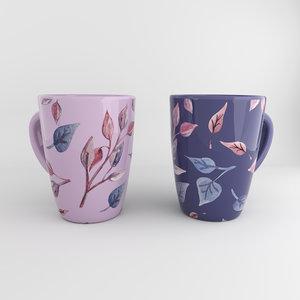 3D cup tea hand drown model