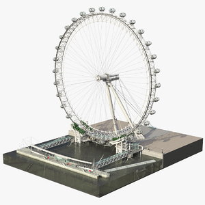 observation ferris wheel rigged 3D model