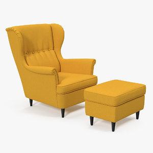 strandmon yellow wing chair 3D model