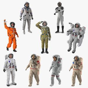 rigged astronauts 5 3D model