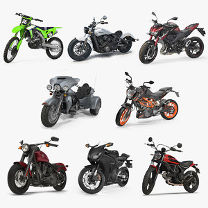 rigged motorcycles 2 cycling 3D model