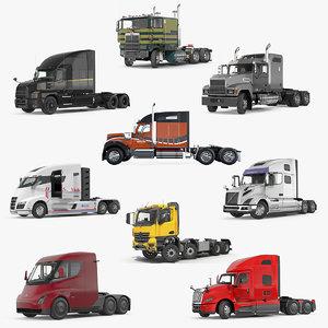 rigged semi trucks 3D