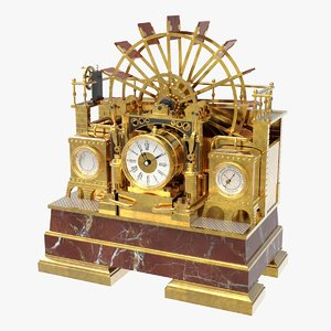 3D industrial water wheel clock