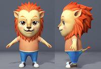 Cartoon lion character lionet Low-poly 3D model