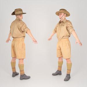 soldier military uniform a-pose 3D model