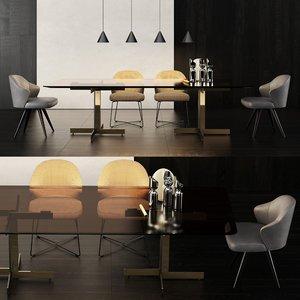 3D minotti catlin dining table