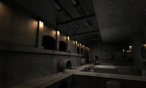 3D horrible sewer scenes dark