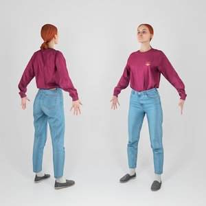 scanned human woman casual 3D model