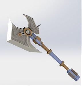 3D warcraft battle axe