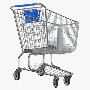 3D model metal shopping cart 01