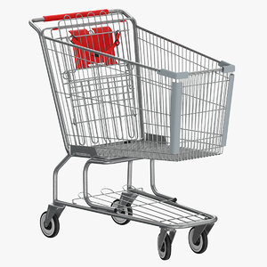3D metal shopping cart 01 model