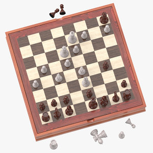 3D chess board set 02 model