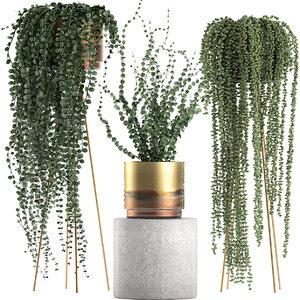 3D plants pots interior gold model
