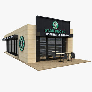 3D coffee shop starbucks cafe model