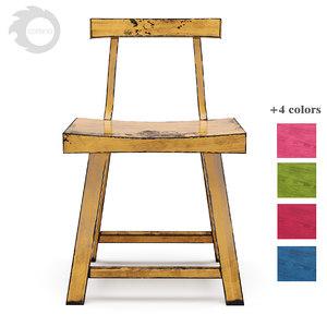 3D model loftdesigne wooden chair wood