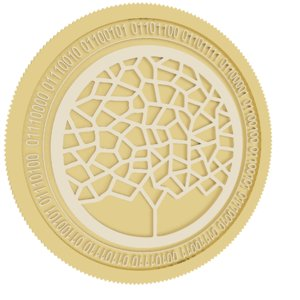3D winding tree gold coin
