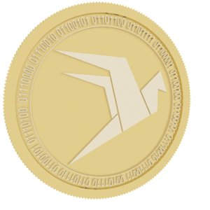 wings gold coin 3D model