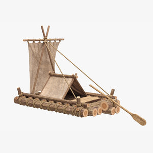 realistic wooden raft 3D model