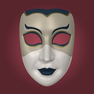 mardi gras woman mask 3D model
