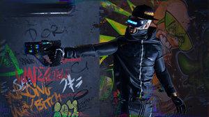 futuristic cyberpunk assassin character 3D model