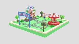3D luna park scene model