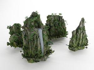 3D hills grass bushes