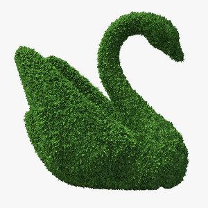 swan topiary sculpture 3D model