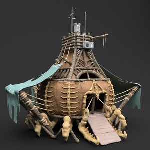 fantasy crab-like house wood 3D model