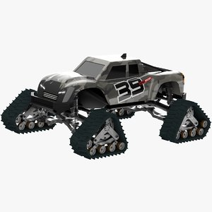 3D monster truck rubber track model