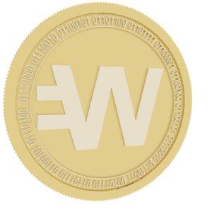 3D wirex token gold coin model