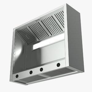 3D model ceiling mounted cooker hood