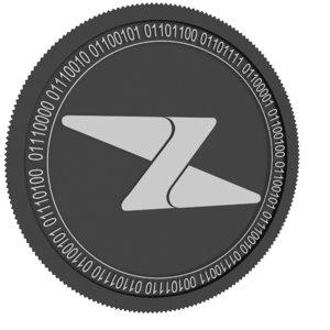 3D model zipper black coin