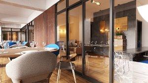 3D model restaurant scene