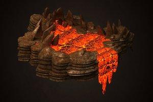 3D active volcano erupts sea