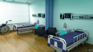 bed hospital room interior 3D model