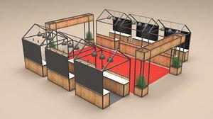 food court layout 3D model