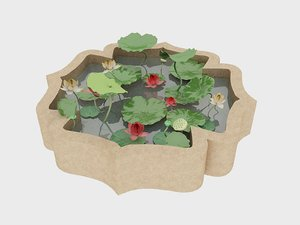 decorative stone pond nelumbo 3D