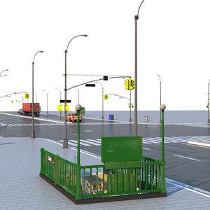 3D model street elements city