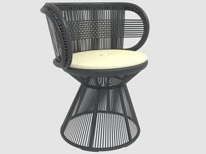 3D cirql armchair central leg