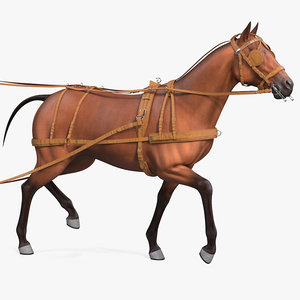 3D horse drawn leather driving model