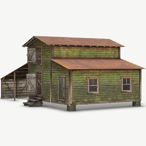 3D abandoned barn pbr ready model